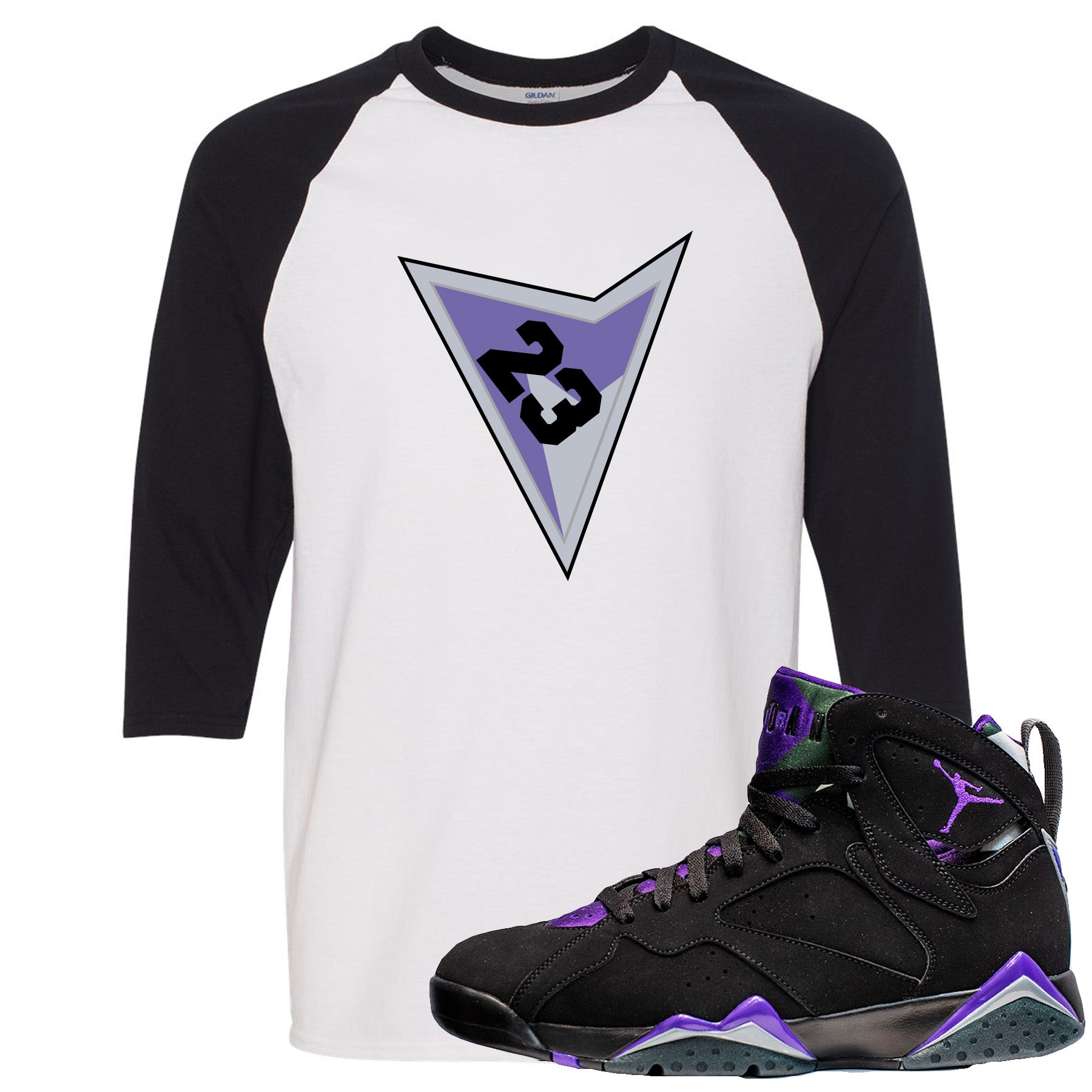 21491d62948 Air Jordan 7 Ray Allen Sneaker Match Triangle Design with 23 White and Black  Raglan T