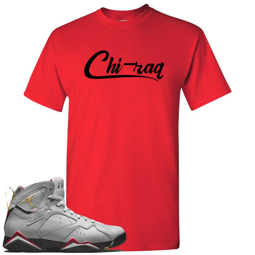 Air Jordan 7 Reflections of a Champion Sneaker Match Chi-raq Script Red T-Shirt