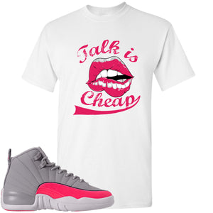Air Jordan 12 GS Grey Pink Sneaker Hook Up Talk is Cheap White T-Shirt