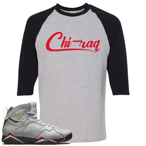 Air Jordan 7 Reflections of a Champion Sneaker Match Chi-raq Script Sports Gray and Black Raglan T-Shirt