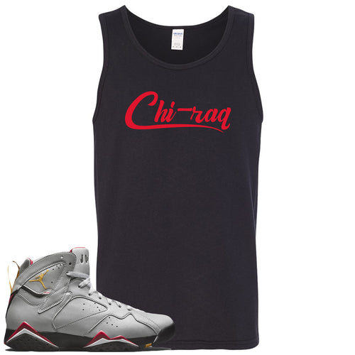 Air Jordan 7 Reflections of a Champion Sneaker Match Chi-raq Script Black Mens Tank Top