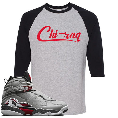 Air Jordan 8 Reflections of a Champion Sneaker Match Chi-raq Script Sports Gray and Black Raglan T-Shirt