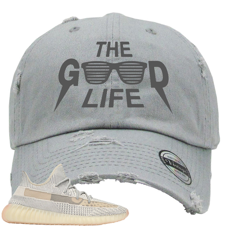 Adidas Yeezy Boost 350 v2 Lundmark Sneaker Hook Up The Good Life Light Gray Distressed Dad Hat