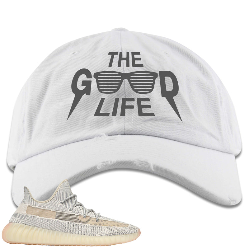 Adidas Yeezy Boost 350 v2 Lundmark Sneaker Hook Up The Good Life White Distressed Dad Hat