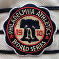 the right side of the philadelphia athletics 1910 world series fitted hat has the 1910 world series patch