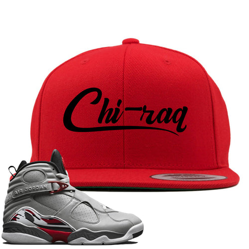 Air Jordan 8 Reflections of a Champion Sneaker Match Chi-raq Script Red Snapback