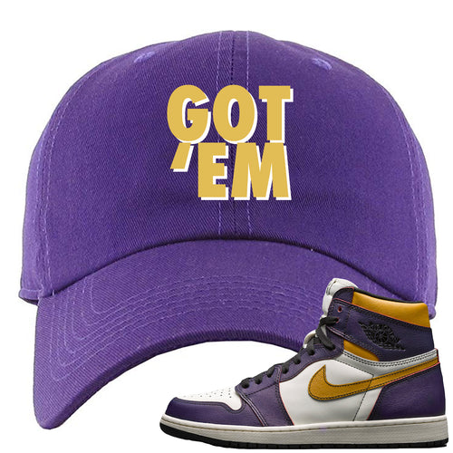 Nike SB x Air Jordan 1 OG Court Purple Sneaker Match Got Em Purple Dad Hat