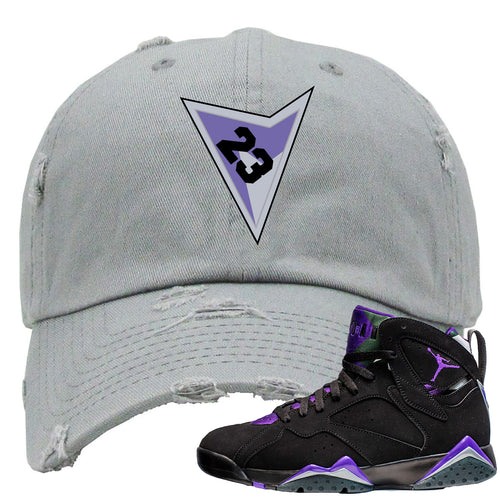 Air Jordan 7 Ray Allen Sneaker Match Triangle Design with 23 Gray Distressed Dad Hat