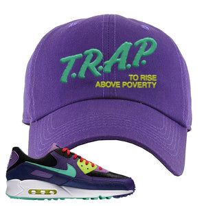Air Max 90 Cheetah Dad Hat | Trap To Rise Above Poverty, Purple