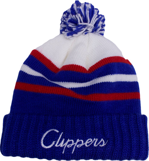 the los angeles clippers special script beanie is blue, white, and red