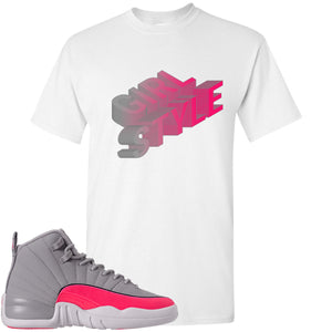 Air Jordan 12 GS Grey Pink Sneaker Hook Up Girl Style White T-Shirt