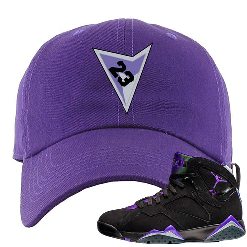 Air Jordan 7 Ray Allen Sneaker Match Triangle Design with 23 Purple Dad Hat