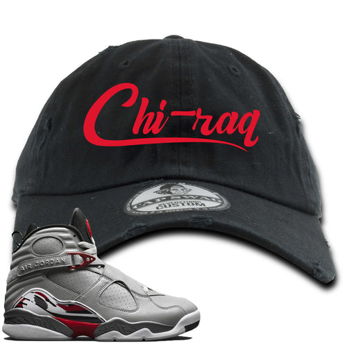 Air Jordan 8 Reflections of a Champion Sneaker Match Chi-raq Script Black Distressed Dad Hat