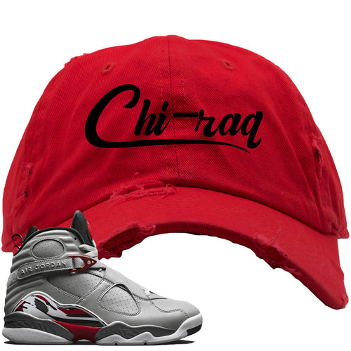 Air Jordan 8 Reflections of a Champion Sneaker Match Chi-raq Script Red Distressed Dad Hat