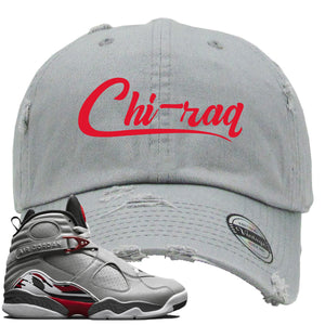 Air Jordan 8 Reflections of a Champion Sneaker Hook Up Chi-raq Script Gray Distressed Dad Hat