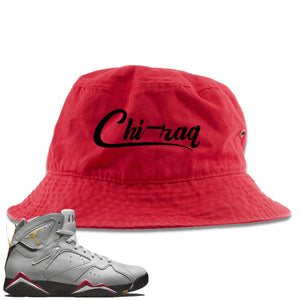 Air Jordan 7 Reflections of a Champion Sneaker Hook Up Chi-raq Script Red Bucket Hat