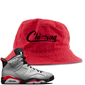 Air Jordan 6 Reflections of a Champion Sneaker Hook Up Chi-raq Script Red Bucket Hat