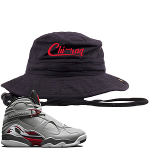 Air Jordan 8 Reflections of a Champion Sneaker Hook Up Chi-raq Script Black Bucket Hat