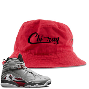 Air Jordan 8 Reflections of a Champion Sneaker Hook Up Chi-raq Script Red Bucket Hat