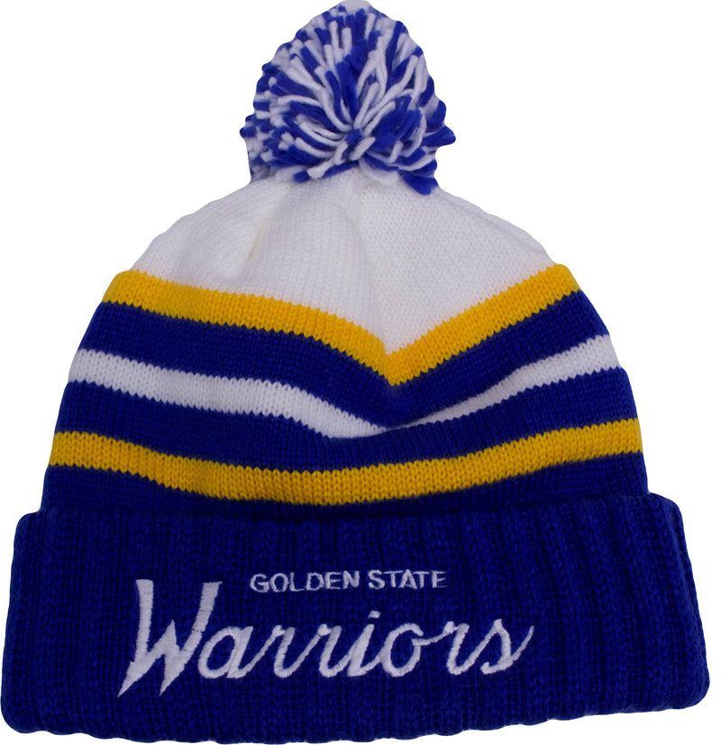 the golden state warriors mitchell and ness on court special script knit beanie is white, blue, and gold