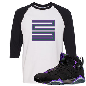 Air Jordan 7 Ray Allen Sneaker Hook Up 23 Black and White Raglan T-Shirt