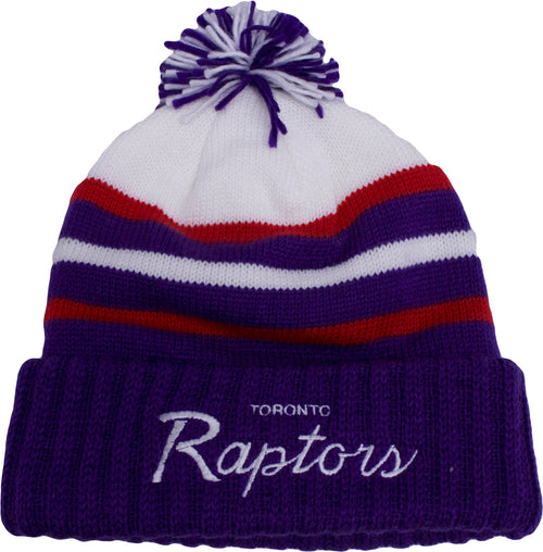 the toronto raptors 2017 nba special script beanie is purple, red, and white