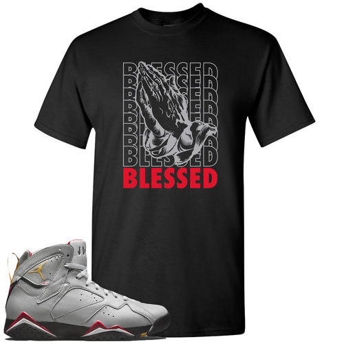 Air Jordan 7 Reflections of a Champion Sneaker Match Blessed Praying Hands Black T-Shirt