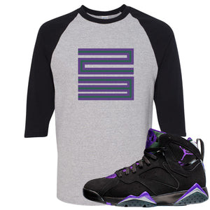 Air Jordan 7 Ray Allen Sneaker Hook Up 23 Sports Gray and Black Raglan T-Shirt