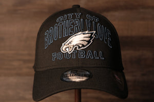 Eagles 2020 Draft Flexfit Hat | Philadelphia Eagles Alternate Draft Stretch Cap the front of this cap has the words city of brotherly love football and the eagles logo
