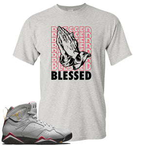 Air Jordan 7 Reflections of a Champion Sneaker Hook Up Blessed Praying Hands Sports Gray T-Shirt