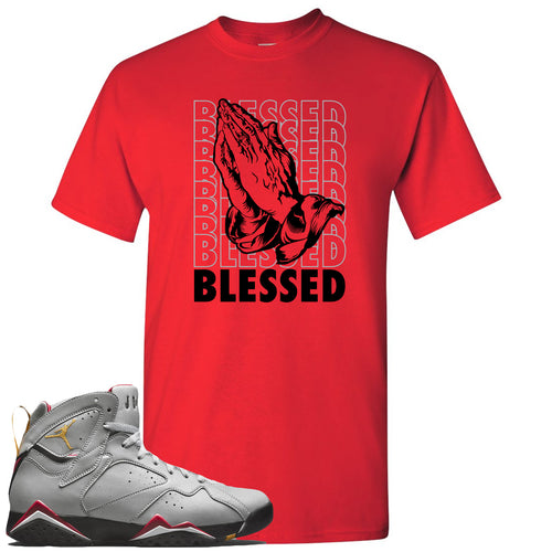 Air Jordan 7 Reflections of a Champion Sneaker Match Blessed Praying Hands Red T-Shirt