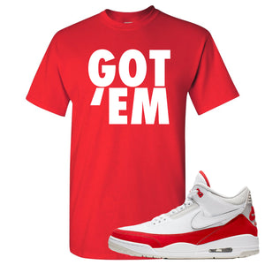 This red t-shirt will match great with your Jordan 3 Tinker Air Max shoes