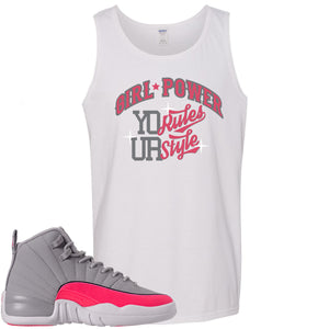 Air Jordan 12 GS Grey Pink Sneaker Hook Up Girl Power White Mens Tank Top