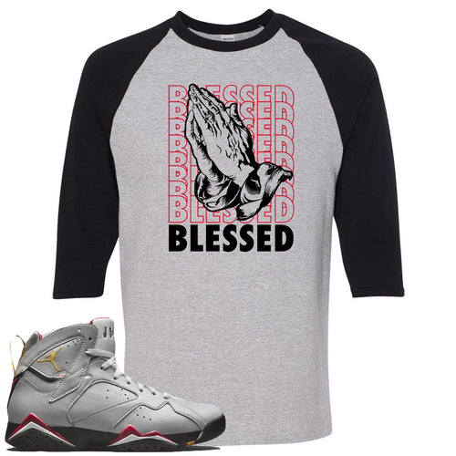 Air Jordan 7 Reflections of a Champion Sneaker Match Blessed Praying Hands Sports Gray and Black Raglan T-Shirt