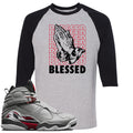 Air Jordan 8 Reflections of a Champion Sneaker Hook Up Blessed Praying Hands Sports Gray and Black Raglan T-Shirt