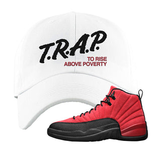 Air Jordan 12 Reverse Flu Game Dad Hat | Trap To Rise Above Poverty, White