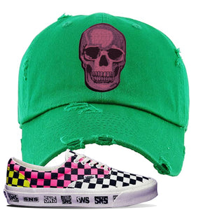 Vans Era Venice Beach Pack Distressed Dad Hat | Kelly Green, Skull