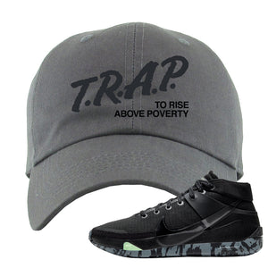 Nike KD 13 Black And Dark Grey Dad Hat | Trap To Rise Above Poverty, Dark Gray