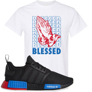 NMD R1 Black Red Boost Matching Tshirt | Sneaker shirt to match NMD R1s | Blessed, White