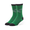 The front has the vintage retro bird logo of the Philadelphia Eagles. The logo is mesh right on top of the kelly green socks. The edge of the socks and the toes can be seen dyed in black.
