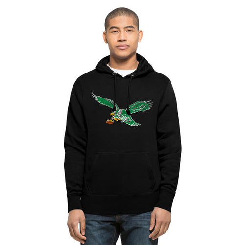 the black philadelphia eagles vintage pullover hoodie is solid black with a vintage kelly green philadelphia eagles logo printed on the front