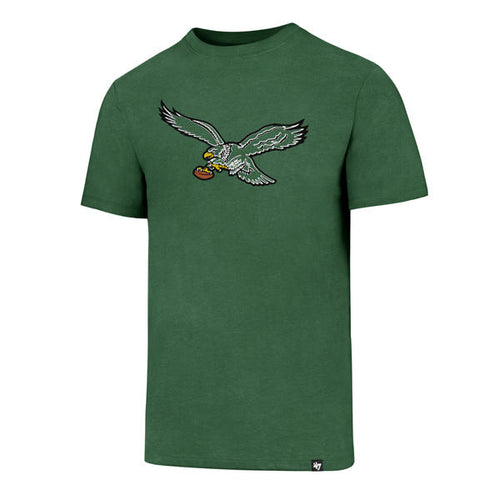 on the front of the kelly green vintage philadelphia eagles t-shirt is a philadelphia eagles retro logo embroidered in green, white, black, brown and yellow
