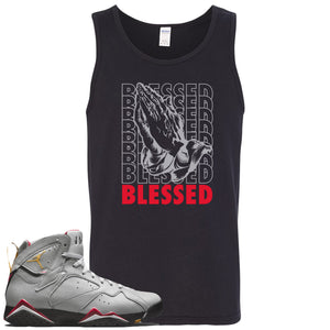 Air Jordan 7 Reflections of a Champion Sneaker Hook Up Blessed Praying Hands Black Mens Tank Top