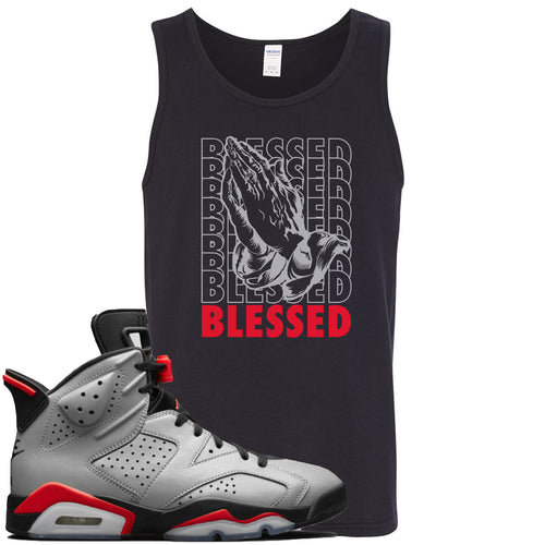 Air Jordan 6 Reflections of a Champion Sneaker Match Blessed Praying Hands Black Mens Tank Top