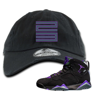 Air Jordan 7 Ray Allen Sneaker Hook Up 23 Black Distressed Dad Hat