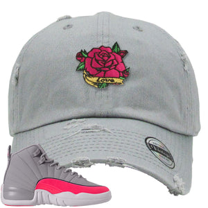 Air Jordan 12 GS Grey Pink Sneaker Hook Up Rose Love Light Grey Distressed Dad Hat