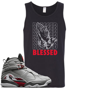 Air Jordan 8 Reflections of a Champion Sneaker Hook Up Blessed Praying Hands Black Mens Tank Top