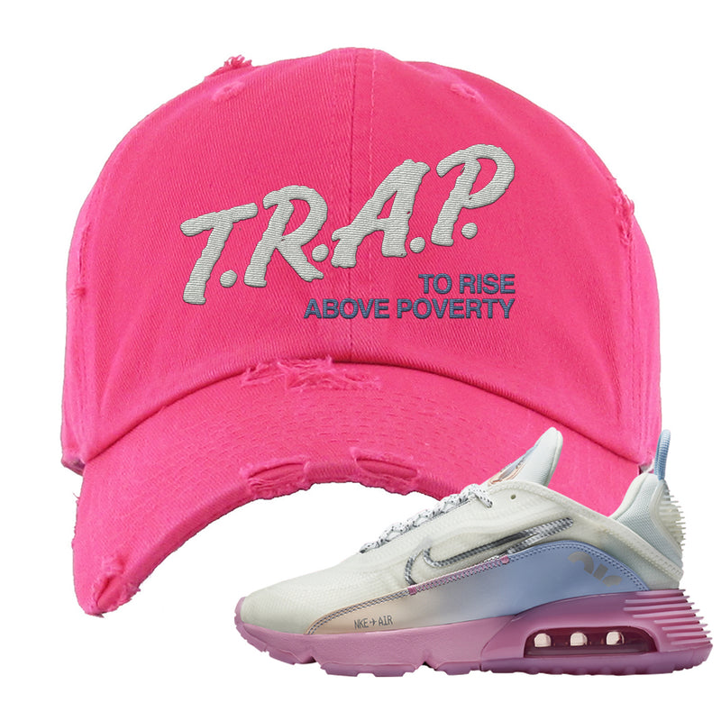 Air Max 2090 Airplane Travel Distressed Dad Hat | Trap To Rise Above Poverty, Pink