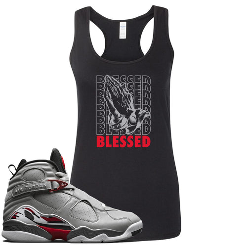 Air Jordan 8 Reflections of a Champion Sneaker Match Blessed Praying Hands Black Womens Tank Top