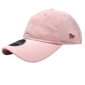 on the left side of the los angeles dodgers pink and rose gold dad hat is the new era logo in a rose gold metal